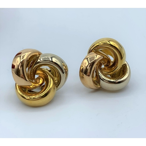 17 - A Pair Of 18ct Earrings In 3 colours Gold 13.2g...