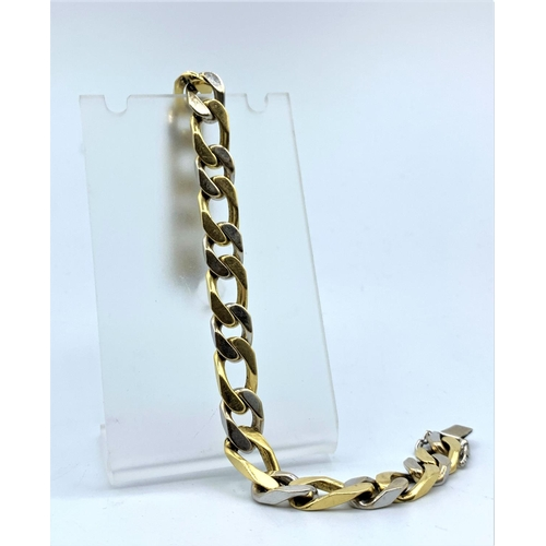 19 - 18ct yellow and white Gold heavy link Bracelet, weight 53.1g and 21cm long...