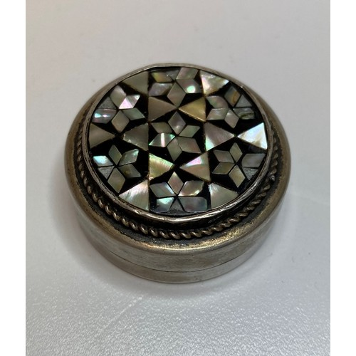 49 - Vintage Silver Pill Box with Inlaid Mother of Pearl Design Feature to lid, Mosaic Pattern Continenta...