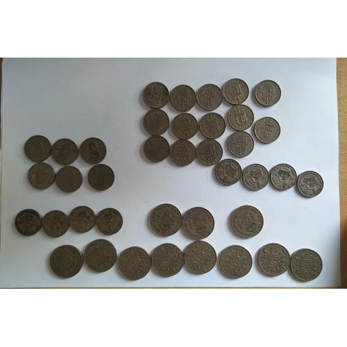 28 - Collection of Coins  1 & 2 Shillings.  English reverse 1 shilling dates: 1947,48,49,51,53-66 (18) Sc...