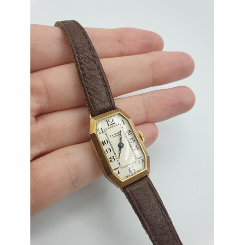 43 - Vintage Ladies 9ct Gold Wristwatch by W.Benson of London, Art Deco Shape with an Octagonal face, ful...
