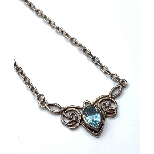 382 - Aquamarine PENDANT on silver chain.  15.1g    40cm
