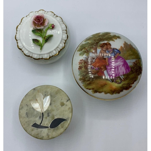 400 - 3 x ceramic trinket boxes to include coalport and limoges .
