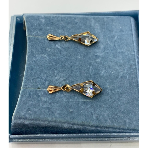 505 - Pair of 9ct earrings with CZ stones