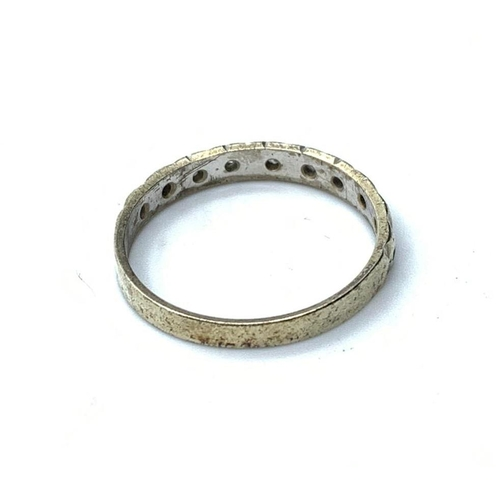 527 - 9ct white gold BAND RING.  1.6g    Size P