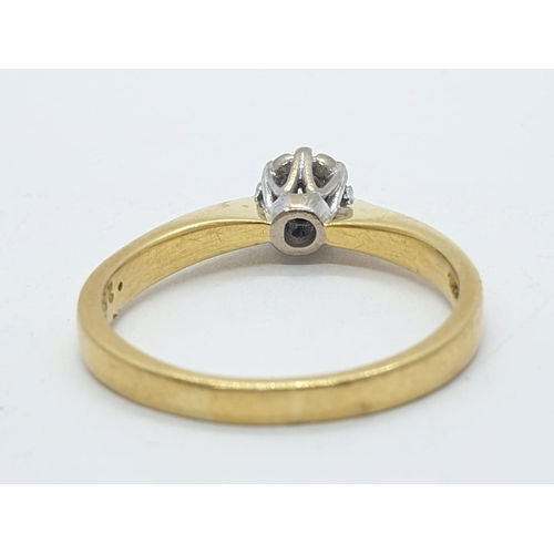130 - 18ct diamond ring with 0.25ct diamond, weight 3.5g, size N
