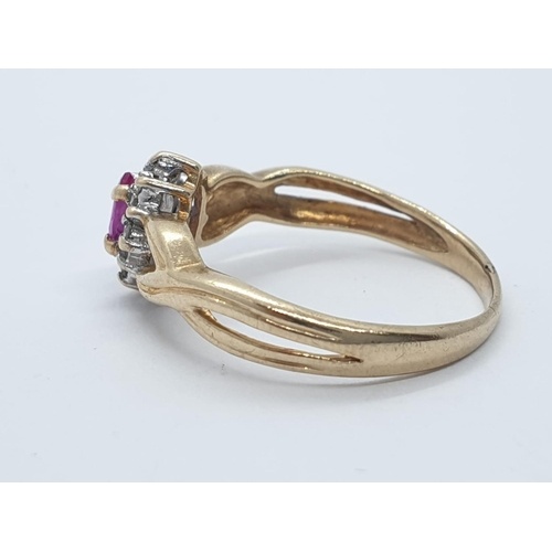 150 - Yellow metal Ruby and Diamond RING.  1.6g   Size J