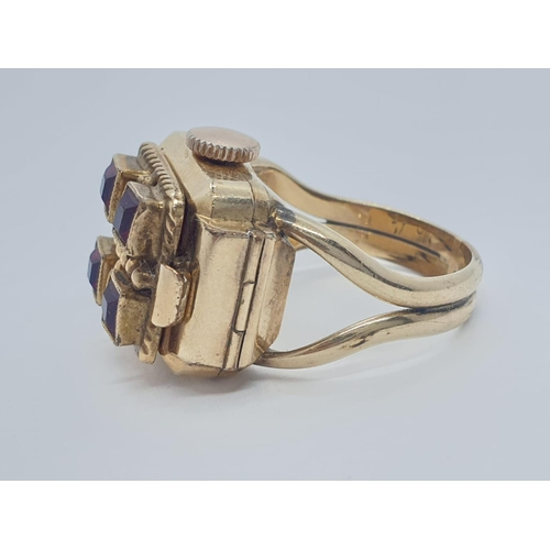 161 - Vintage watch ring, full working order