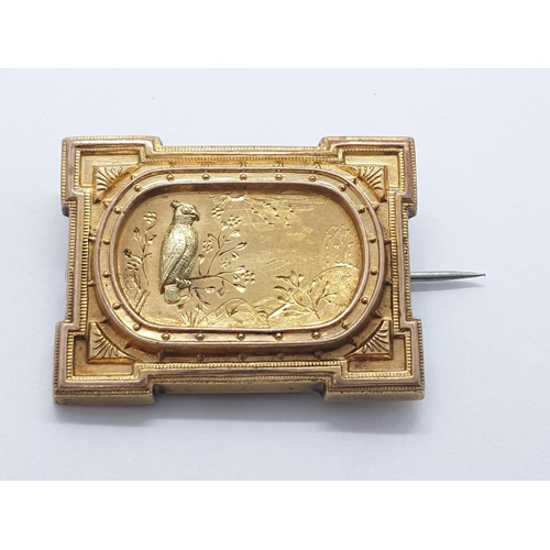 171 - Yellow metal Mourning BROOCH.  8.8g