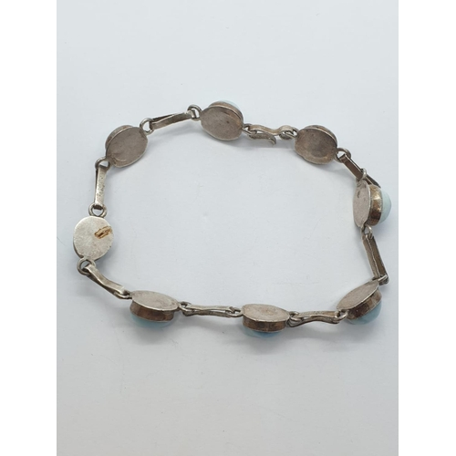 246 - Silver stone BRACELET.  9.7g    16cm