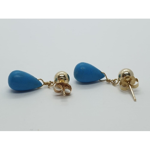 311 - 14ct gold and turquoise EARRINGS.
