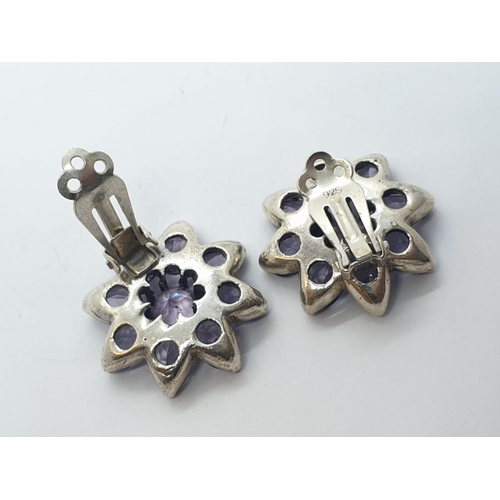 352 - Pair of silver EARRINGS with lilac stones.