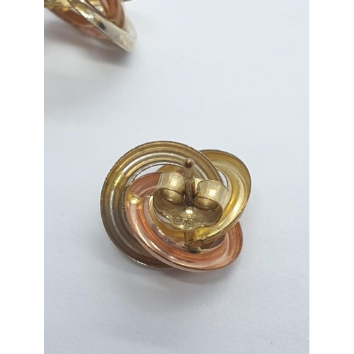 363 - 9ct 3 coloured gold EARRINGS.   0.9g