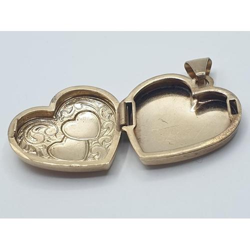 460 - Vintage 9ct gold HEART LOCKET.  2g.