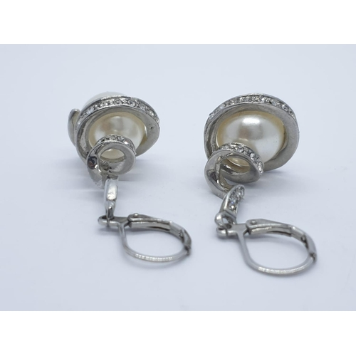 525 - Pair of silver and pearl EARRINGS.
