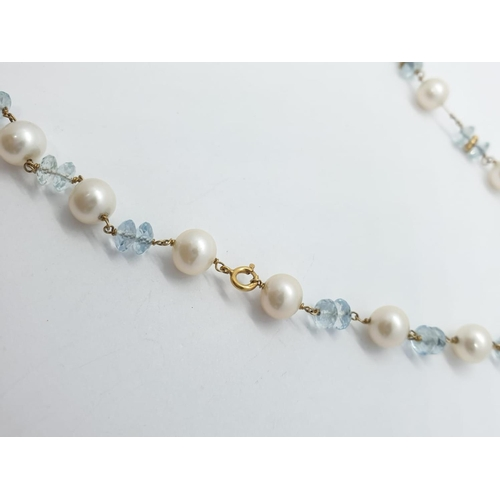 178 - 9ct gold pearl and aquamarine NECKLACE. 14.7g   34cm