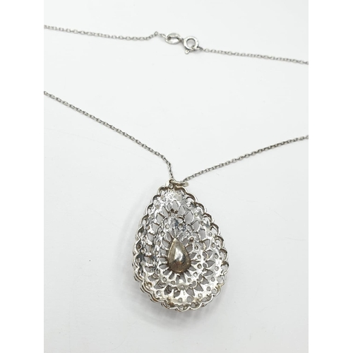 185 - Rose Diamond PENDANT on 38cm chain.  6.5g