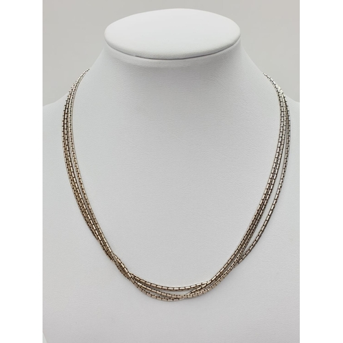 305 - Silver 3 row NECKLACE.  26.4g     38cm