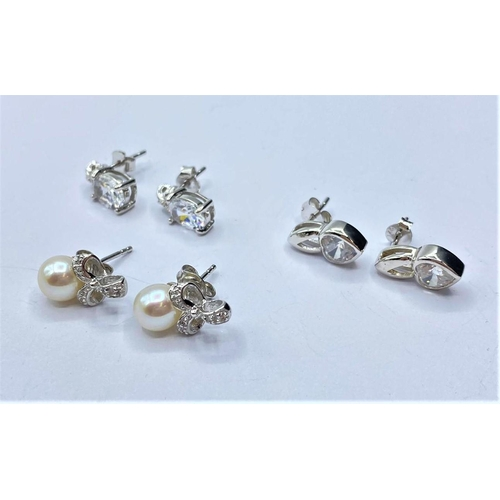 147 - 3 x pairs of silver EARRINGS.