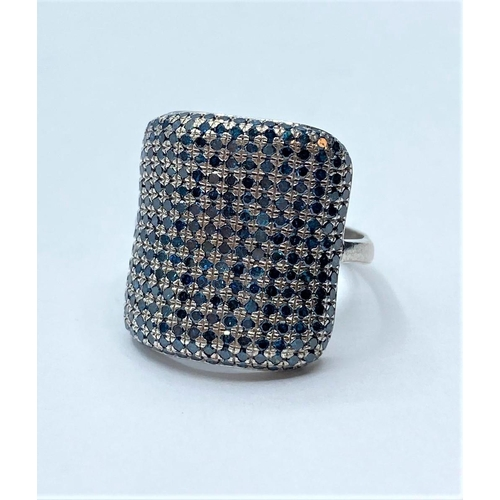 183 - Silver diamond ring , weight 4.6g, size R