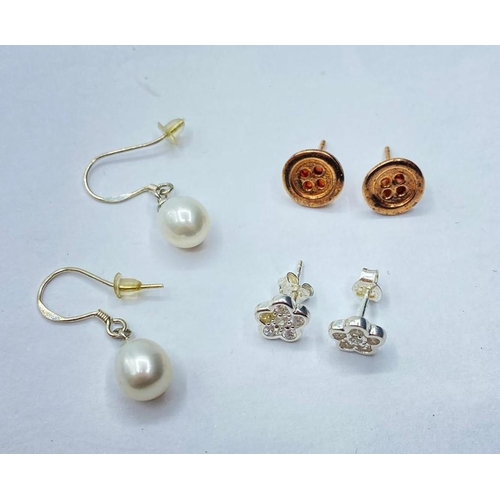 196 - 3 x Pairs of Silver EARRINGS.  5.3g