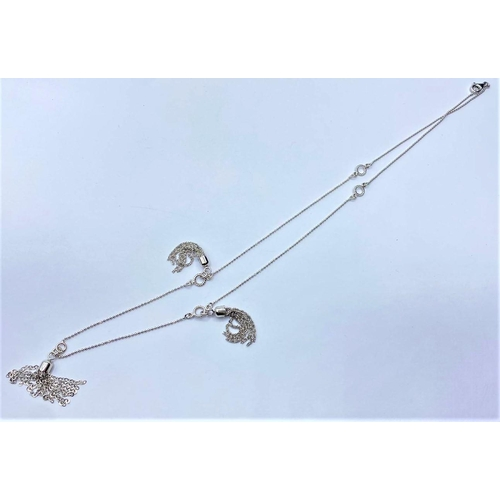 224 - Silver tassel NECKLACE.  8.1g      52cm.