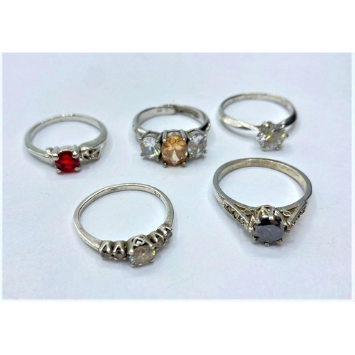 288 - 5 x Silver RINGS with stones.  13.7g