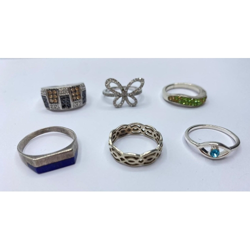 317 - 6 x Assorted silver RINGS.  17.6g