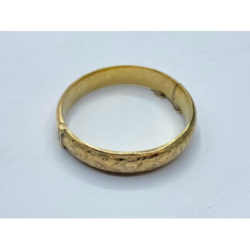 330 - 9ct gold filled BANGLE  with metal core.  22.1g