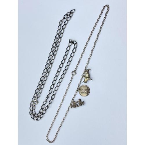 417 - 2 x Vintage Silver NECKLACES.  35.7g