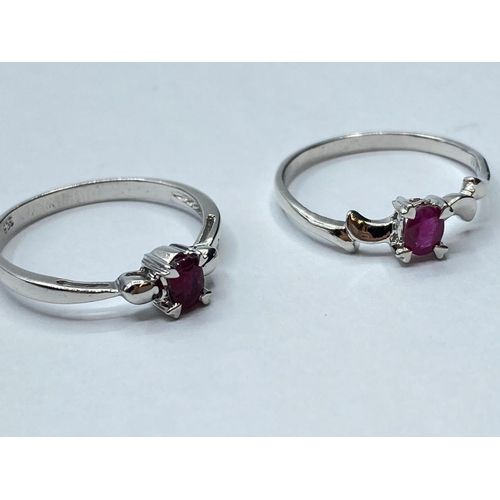 428 - 3 x silver RINGS.  2 with rubies.
