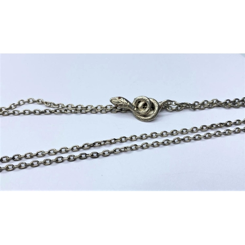 533 - Silver Snake PENDANT on a silver chain.  24.3g   72cm.