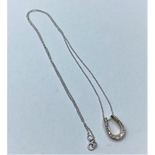 64 - 9ct gold Diamond encrusted Horseshoe PENDANT plus chain.   1.6g    40cm