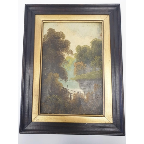 100 - An late 19th Century oil on board RIVERSIDE PAINTING by unknown artist.  40 x 30 cm.