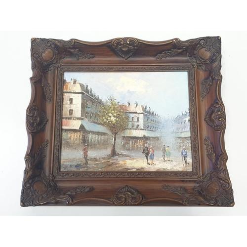 168 - Oil ON  canvas PAINTING street scene. signed Burnett and reframed.  8 x 10 in.