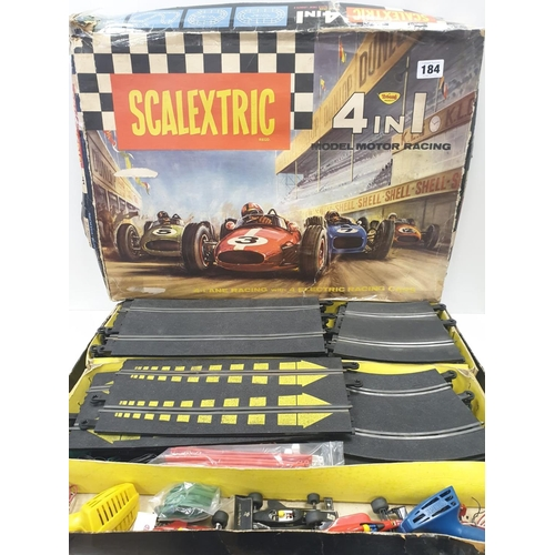 184 - 1960's SCALEXTRIC 4 in 1 , 2 x controllers , 3 x cars , full track