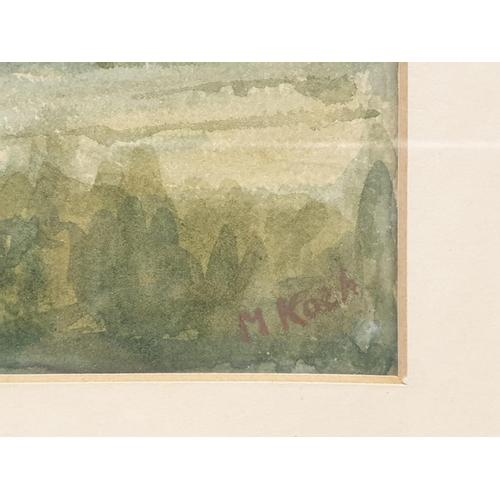 522 - Framed watercolour village scene by M Koch .
