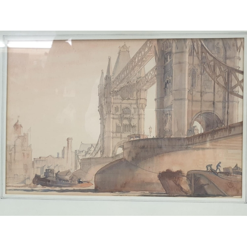 530 - Framed watercolour painting Tower Bridge at the