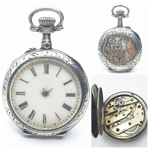 107 - Small silver Lady's POCKET WATCH. hands missing.