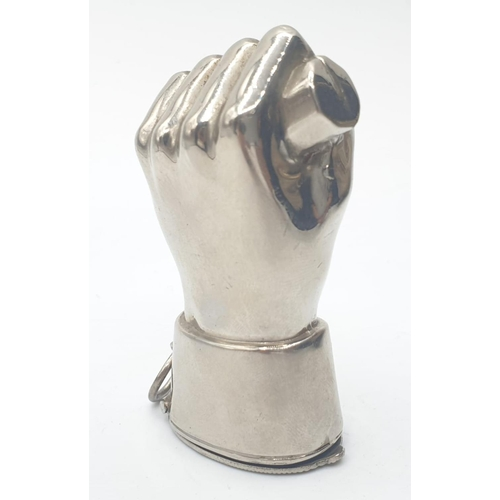 125 - White metal VESTA CASE in the form of a hand.