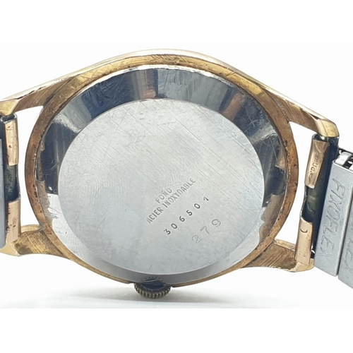 128 - Vintage :  Uweco-Geneve gold plated gents WATCH .
