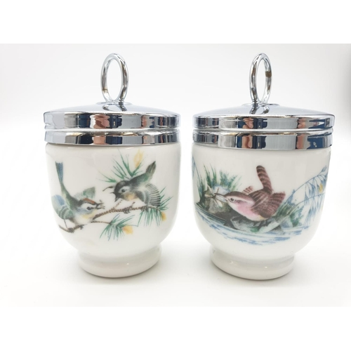 170 - Pair of Royal Worcester egg coddlers with bird design, perfect condition in original Royal Worcester...