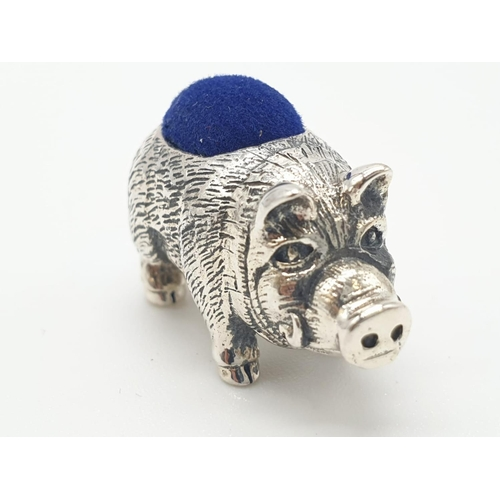 232 - Silver pin cushion in the form of a pig or boar, 2.7cm approx