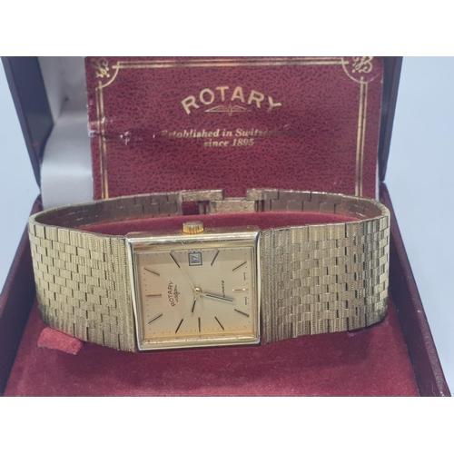 292 - Gent gold tone Rotary wristwatch, having square face and Milanese brickwork bracelet, quartz movemen...