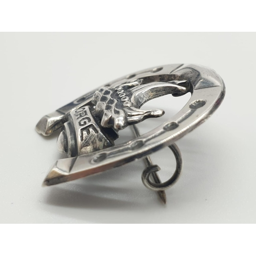 333 - Vintage Scandinavian silver brooch having a Viking longship and the word Norge in a silver horseshoe...
