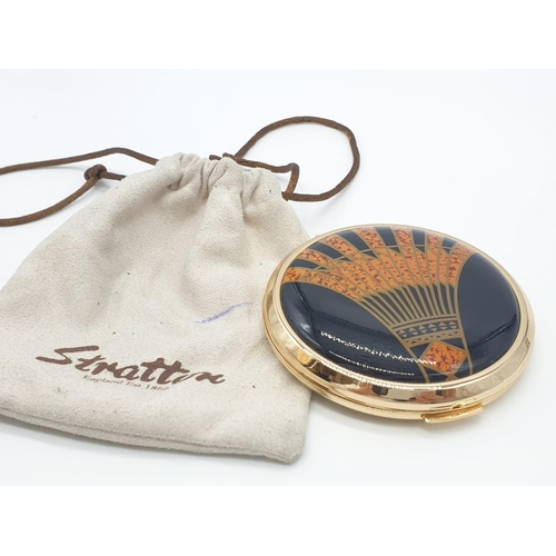343 - Retro Stratton compact having enamelled lid in art deco design, glossy black and amber finish, origi...
