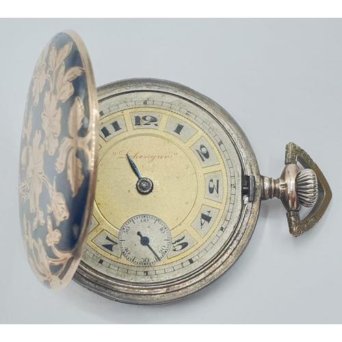 47 - Gold and Silver Lohengun POCKET WATCH.  c1900  No glass.  FWO.