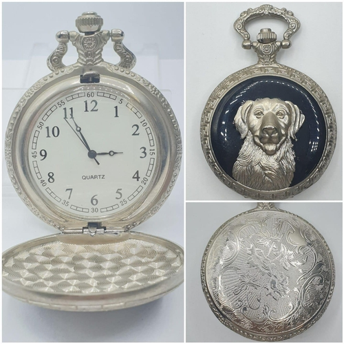 470 - Pocket watch with front cover having a dog in relief (3D effect) on a glossy black background, quart...