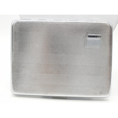 554 - Vintage Sylva Chrome cigarette case, engine turned design fastening clasp perfect blank cartouche