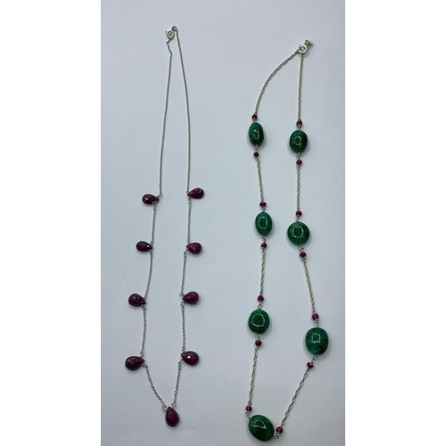 199 - A collection of two chain necklace oval emerald with rubies and ruby drop chain  necklace, both leng...